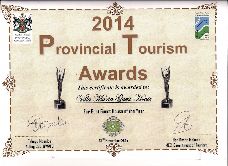 North West Parks & Tourism award for the Best Guest House in North West
